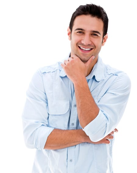 Confident man smiling after going through restorative dentistry.